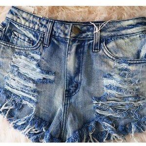 Denim jean shorts distressed